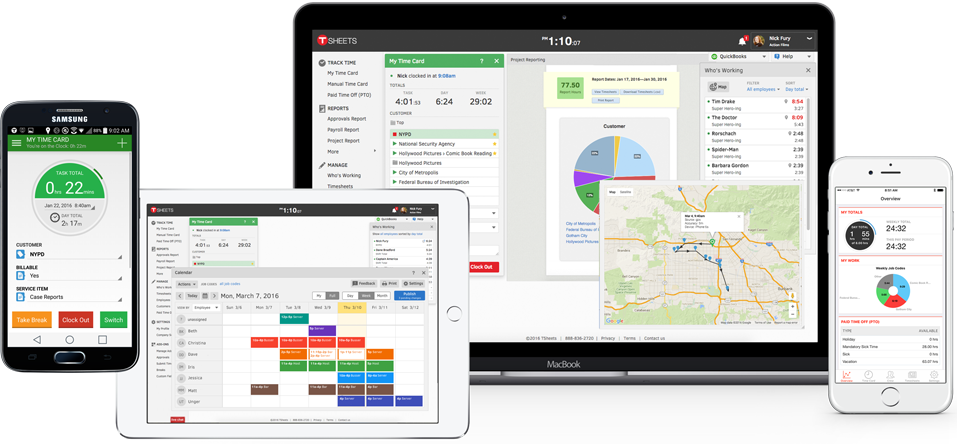 TSheets iPhone time tracking app tracks employee time, jobs, and gps.