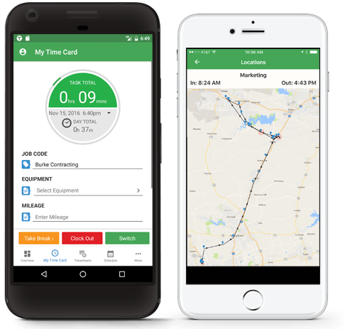 Mobile time tracking with iPhone and Android apps.