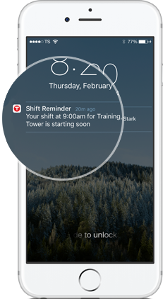 Employees receive notifications about their schedule via the TSheets scheduling app.