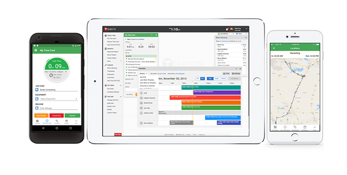 Screenshot of TSheets reporting functionality.