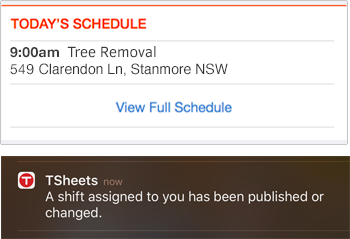 Employees receive notifications about their schedule via the TSheets job scheduling software.