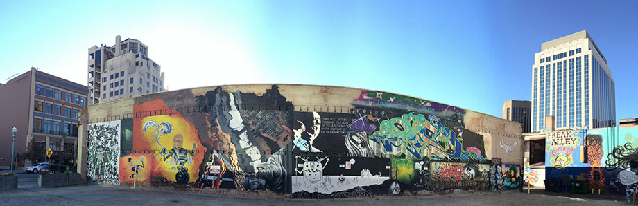 Wide view of Boise Freak Alley murals.