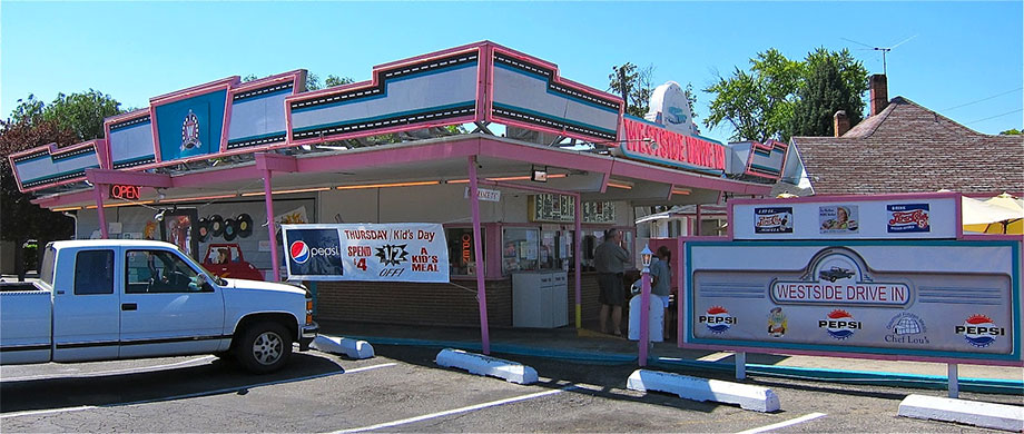 The name says drive-in, but don't be surprised if you order prime rib or other gourmet food featured in Diners, Drive-ins, and Dives.