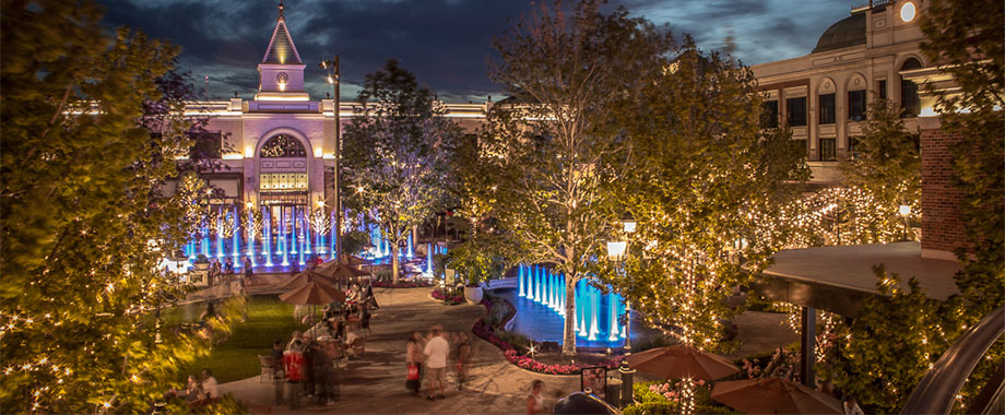 The new Village at Meridian is a great place to dine, shop, or just hang out by the water and light show.