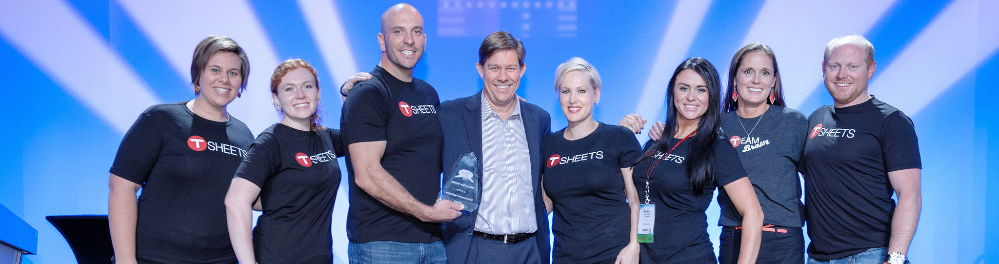 TSheets CEO Matt Rissell and team with 2015 Sleeter Group Awesome Application award