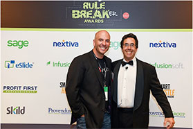 TSheets CEO Matt Rissell with 2015 Rulebreaker of the Year host Barry Moltz