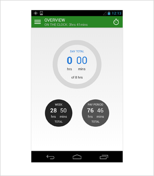 Android time clock app screenshot for public use.