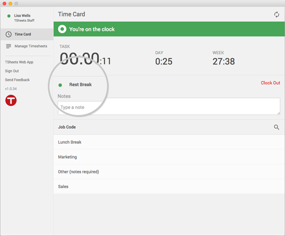 Take a rest break or lunch break without having to edit your timecard later.