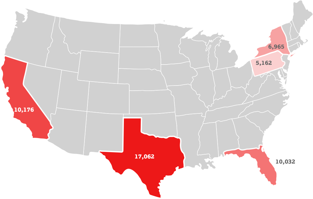 states with the highest number of cases
