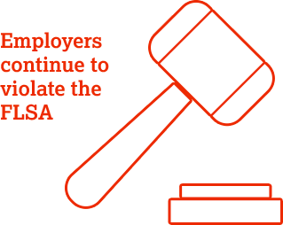 Employers continue to be guilty of FLSA violations.