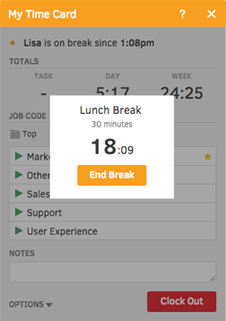 TSheets can help employees track daily breaks, lunches, or PTO hours.