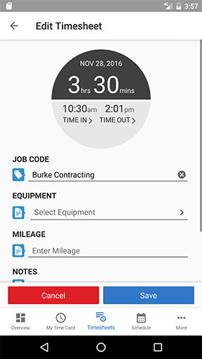 Manual time entry on your Android
