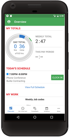 android time tracking page