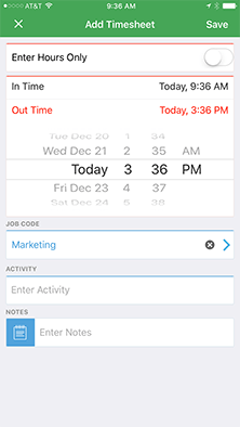 Spreadsheet-style time tracking for iPhone