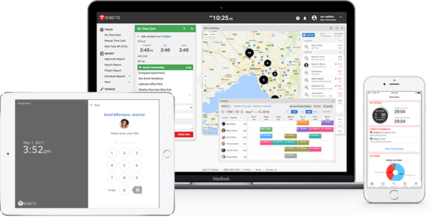 Employees can use TSheets if they're working remotely, on the go, or all in a central location.
