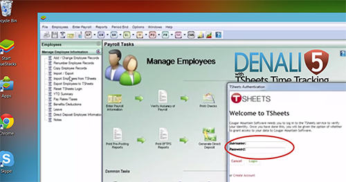Transfer all employee time from TSheets to Denali for simple payroll
