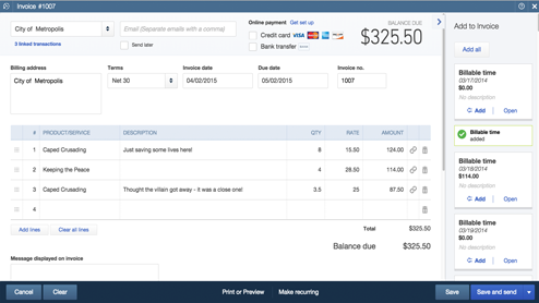 Easily track job costs and send invoices with QBO