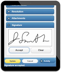 Field Service Technicians can clock in/out of each service order, and obtain signatures with the same app