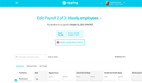 Rippling Payroll screenshot - hourly employee.