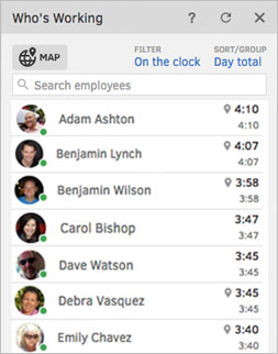 Online Timesheet Feature: Who's Working Widget