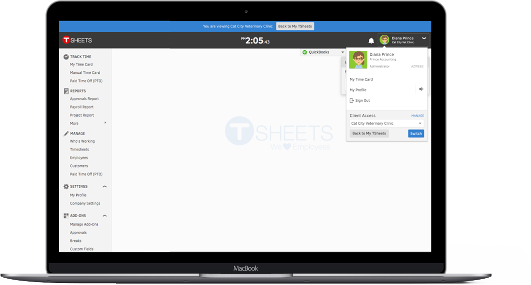 The TSheets accountant view allows you to manage all your TSheets-using clients in one place.