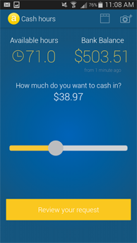 Submit time and cash in directly from mobile app