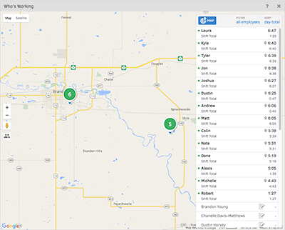 Livingstone Landscape uses the GPS tracking in the Who's Working window to see where employees are working.