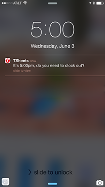 Screenshot of clock in/out reminder setting in TSheets iPhone and Android app.