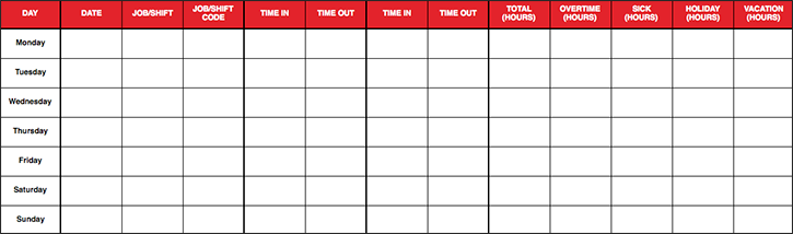 Get weekly, biweekly, and monthly Excel time tracking spreadsheets for your employees.