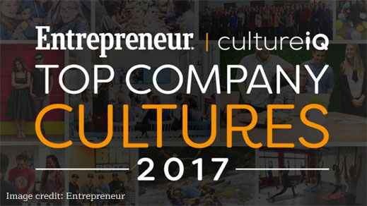 Entrepreneur and CultureIQ Top Company Cultures 2017.