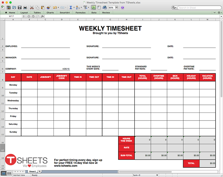 Free Excel Timesheet Template - Weekly, Biweekly & Monthly Time Cards
