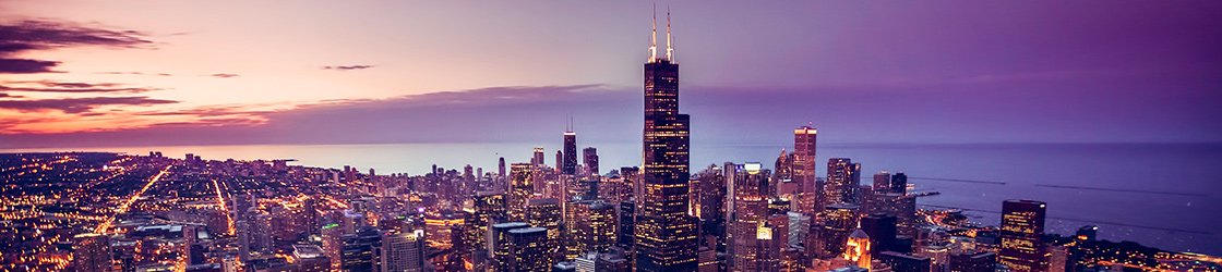 Chicago, Illinois skyline at night