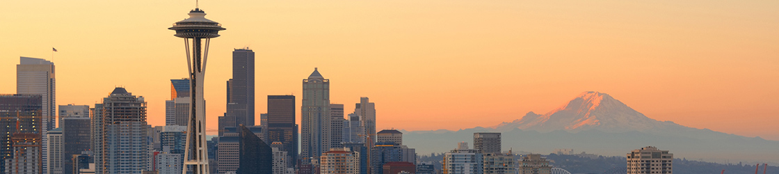Seattle, Washington skyline at dusk.