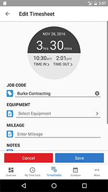 Spreadsheet-style time tracking for Android