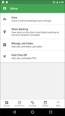Offline or online time tracking app for Android