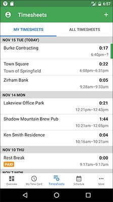 Edit Employee Timesheets from an Android Device