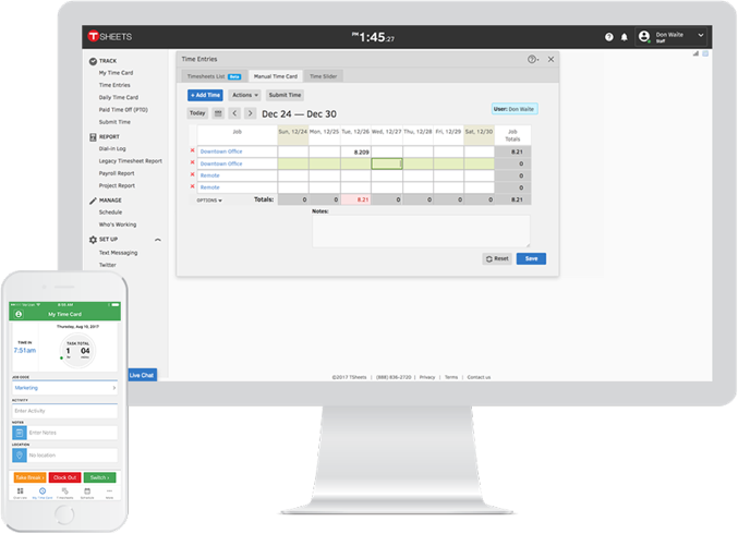 Screenshot of TSheets employee time tracking software running on desktop and mobile phone.