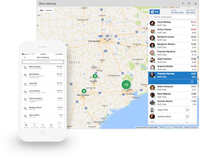 Screenshot of TSheets GPS map showing where remote employees are working and what they're working on.