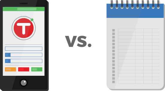 Time tracking app vs. paper timesheets.