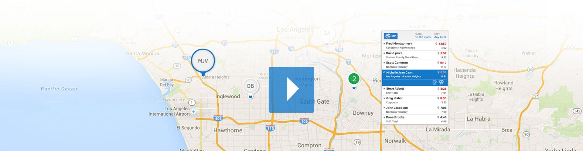 See your employees' GPS locations and hours all from the Who's Working window.