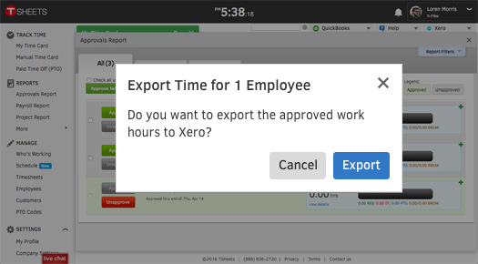 Easily export your employee hours from TSheets with one click and then use Xero to process payroll, create invoices, calculate job costing, and more.